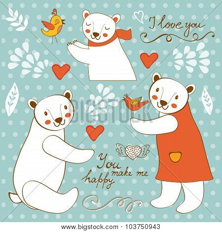 Cute polar bears colorful set with handwritten words You make me happy