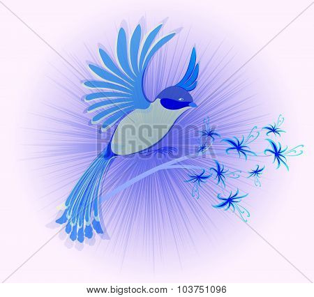 Bird of Paradise with flowers. EPS10 vector illustration