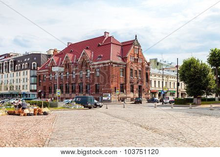 Building Of Suomen Pankki On The Market Square In Vyborg, Russia