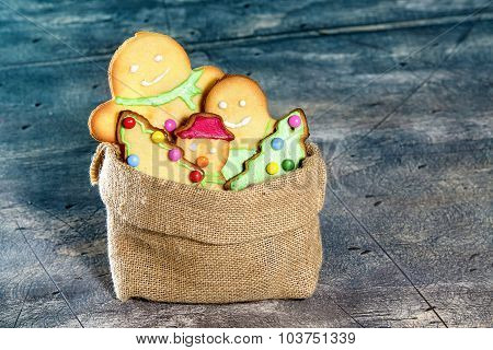 Sack Bag Full Of Christmas Cookies