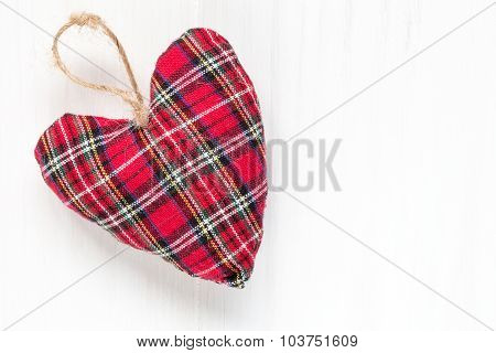 Decorative Fabric Heart  On Wood Background