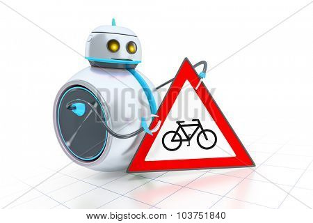 A sweet little robot and a road sign with a bicycle
