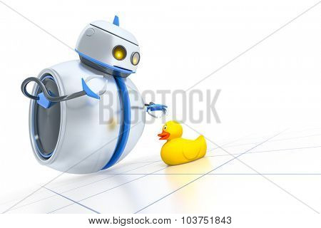 A sweet little robot and a yellow ducky