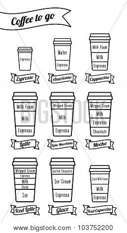 Coffee To Go. Coffe Types And Recipe. Isolated Black Line Icons. Vector