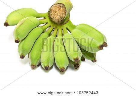 Green Bananas Isolated On White Background