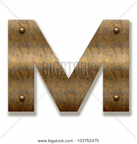 Rusty Metal Letter M. Alphabet Isolated On White Background