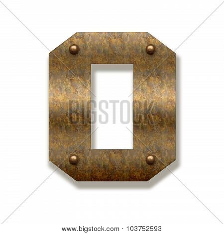 Rusty Metal Letter O. Alphabet Isolated On White Background