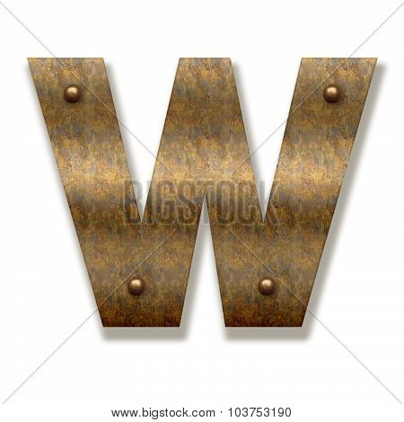 Rusty Metal Letter W. Alphabet Isolated On White Background