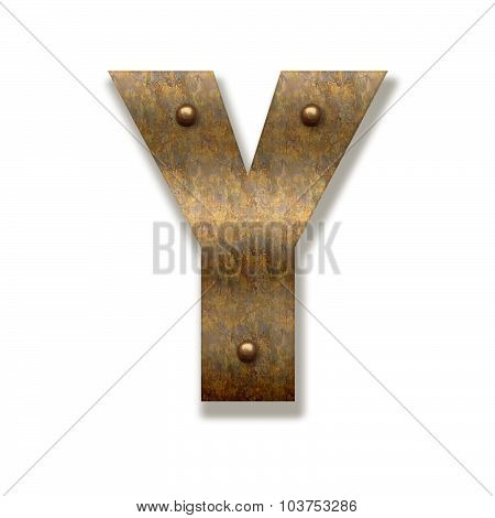 Rusty Metal Letter Y. Alphabet Isolated On White Background