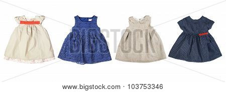 Set of cute colorful baby dresses