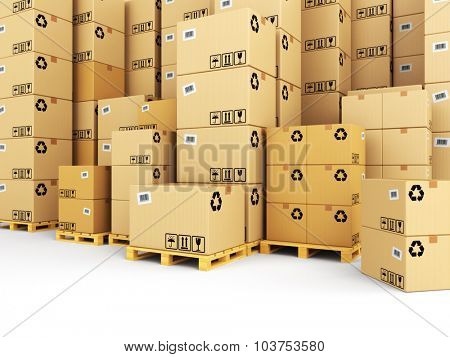 Delivery concept. Boxes on pallet. Space for text. 3d