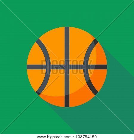 Basketball Ball Icon With Long Shadow