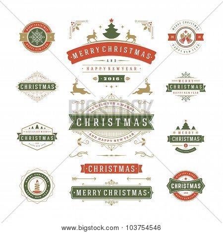 Christmas Labels and Badges Vector Design
