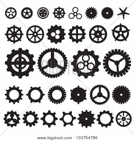 Steampunk collection machine gear. wheel cogwheel vector, set of gear wheels, collection of vector g