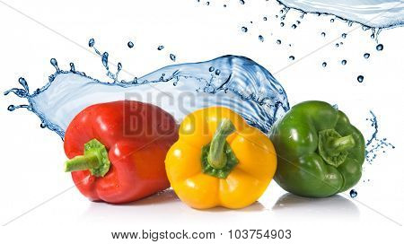 red, yellow, green pepper with water splash isolated on white. Header for website
