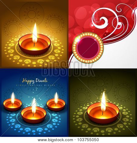 vector collection of diwali background illustration with decorated diya