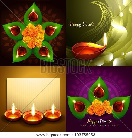 vector set of happy diwali diya background illustration with green leaf and beautiful diya