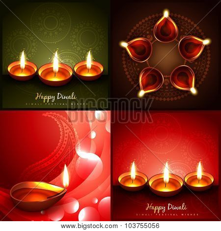 vector set of diwali beautiful diya background illustration