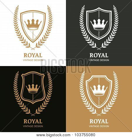 Set Of Vector Vintage Logo Design Template. Crown, Shield And Laurel Wreath.