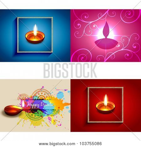 vector collection of diwali diya background illustration with colorful grunge and floral