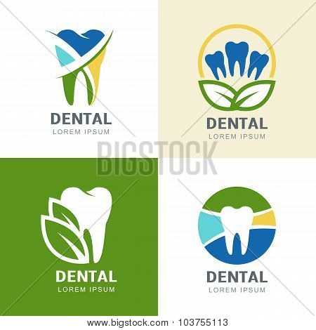Set Of Vector Logo Icons Design. Multicolor Tooth And Green Leaves Illustration.