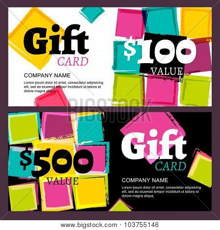 Vector Gift Card Or Voucher, Abstract Watercolor Squares Stains Background.