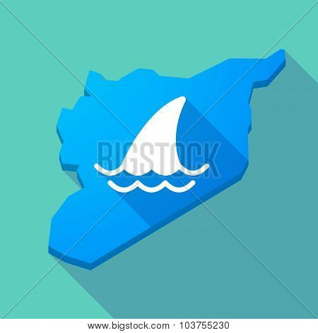 Long Shadow Syria Map With A Shark Fin