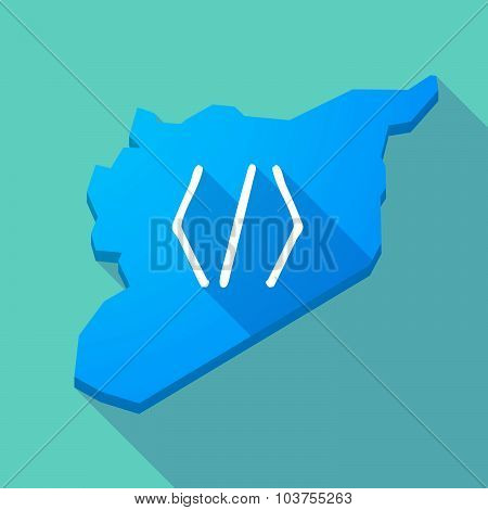 Long Shadow Syria Map With A Code Sign