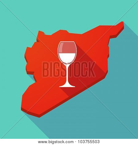 Long Shadow Syria Map With A Cup Of Wine