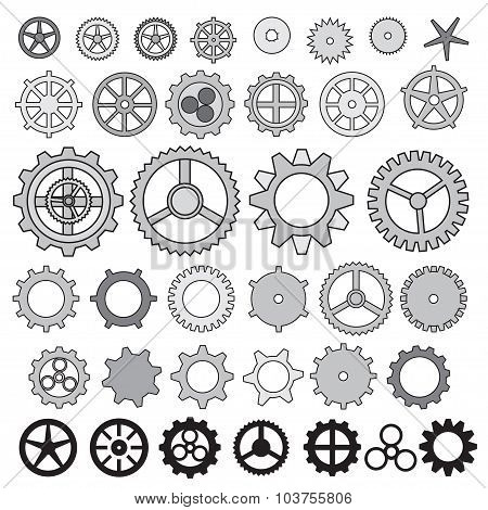Steampunk collection machine gear, wheel cogwheel vector, set of gear wheels, collection of vector g
