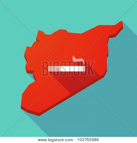 Long Shadow Syria Map With A Cigarette