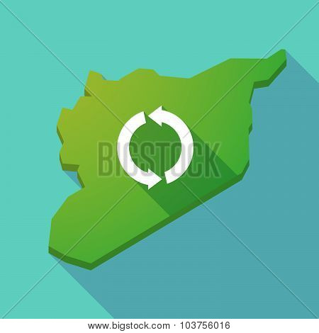Long Shadow Syria Map With A Round Recycle Sign