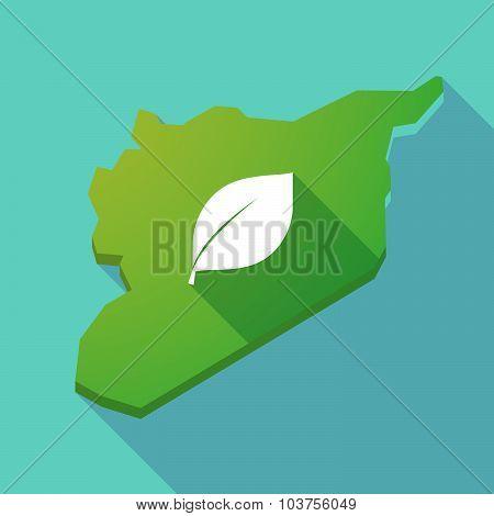 Long Shadow Syria Map With A Green  Leaf