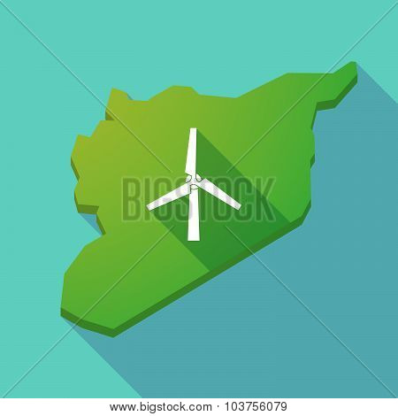 Long Shadow Syria Map With A Wind Generator