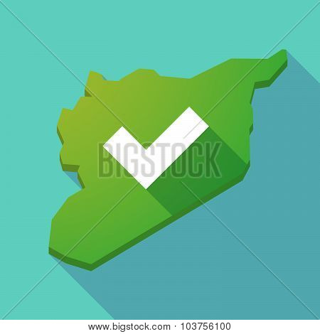 Long Shadow Syria Map With A Check Mark