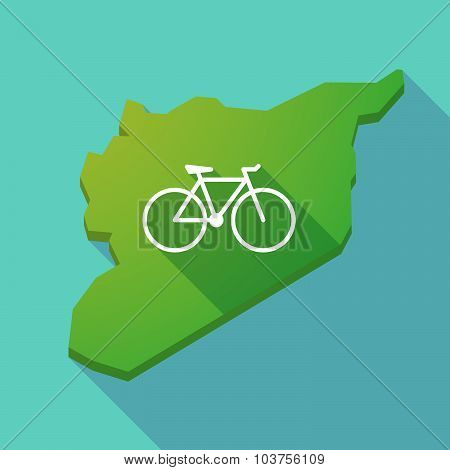 Long Shadow Syria Map With A Bicycle