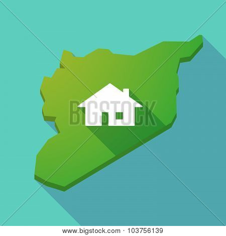 Long Shadow Syria Map With A House