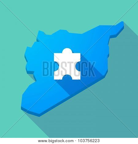 Long Shadow Syria Map With A Puzzle Piece