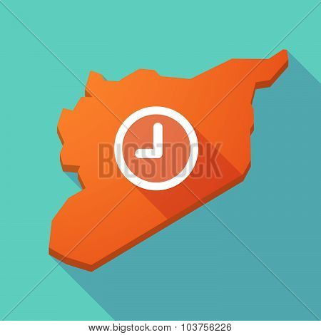 Long Shadow Syria Map With A Clock