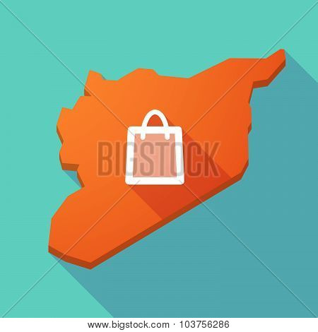 Long Shadow Syria Map With A Shopping Bag
