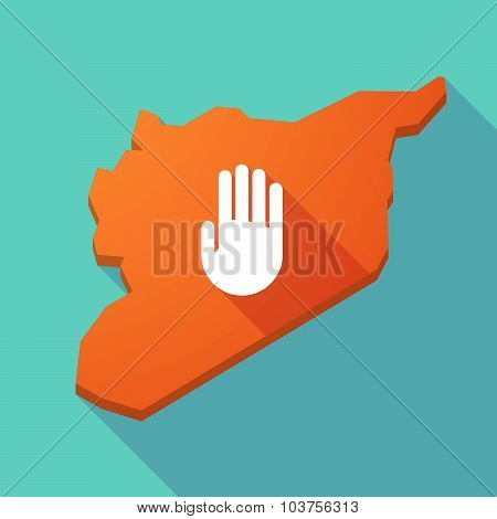 Long Shadow Syria Map With A Hand