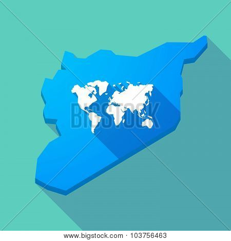 Long Shadow Syria Map With A World Map