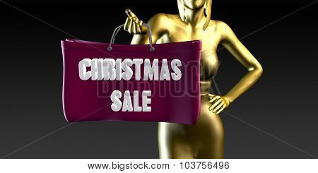 Christmas Sale with a Lady Holding Shopping Bags