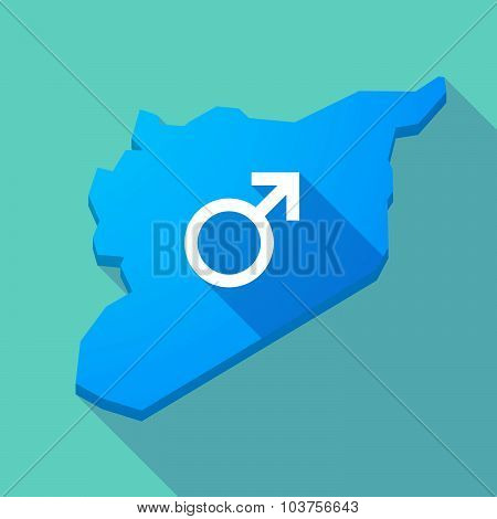 Long Shadow Syria Map With A Male Sign