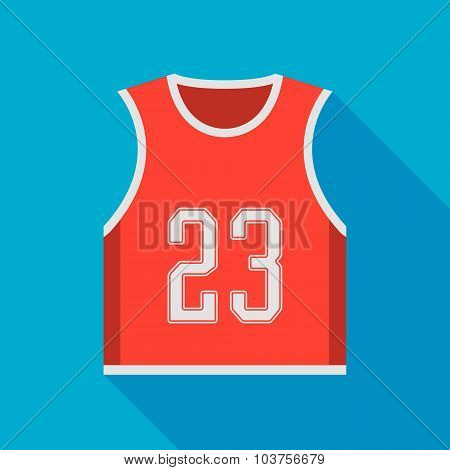 Basketball Jersey Icon With Long Shadow