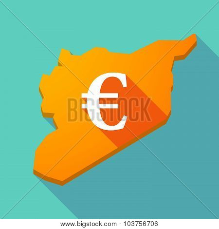 Long Shadow Syria Map With An Euro Sign