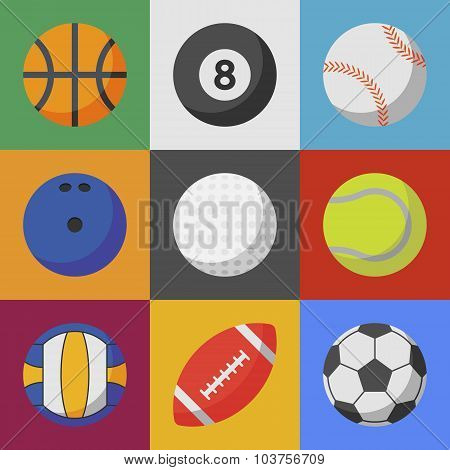 Set Of Sport Ball Icons. Flat Style Vector Illustration