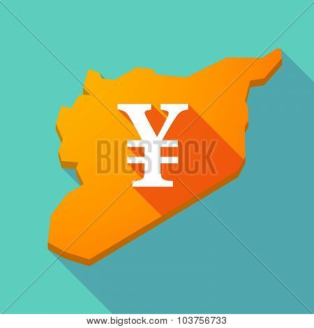 Long Shadow Syria Map With A Yen Sign