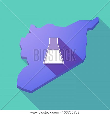Long Shadow Syria Map With A Flask
