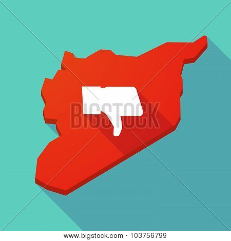 Long Shadow Syria Map With A Thumb Down Hand